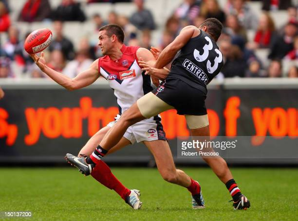 James Sellar of the Demons takes a mark during the round 20 AFL match between the St Kilda Saints and the Melbourne Demons at the Melbourne Cricket...
