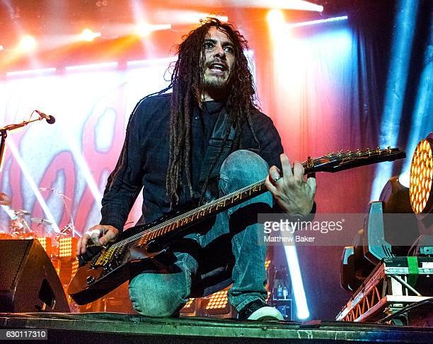 James Shaffer of Korn performs on stage at the SSE Arena on December 16 2016 in London England