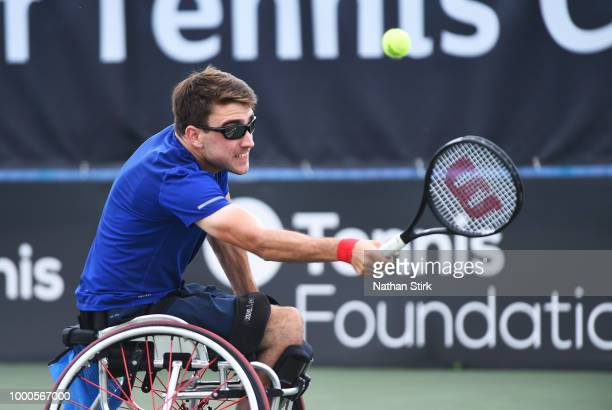 Antony Cotterill of Great Britain competes against Heath Davidson of Australia during day one of the British Open Wheelchair Tennis Championships at...