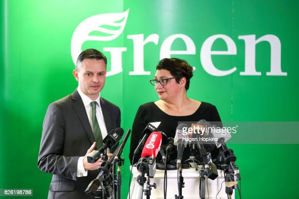 James Shaw speaks while Metiria Turei looks on during a press conference on August 4 2017 in Wellington New Zealand The Green Party coleader came...