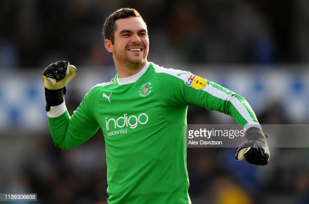 James Shea of Luton Town celebrate victory during the Sky Bet League One match between Bristol Rovers and Luton Town at Memorial Stadium on March 30...