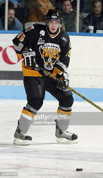 James Sheppard of the Cape Breton Screaming Eagles eyes the puck during a QMJHL game against the Gatineau Olympiques on October 17, 2004 in Gatineau,...