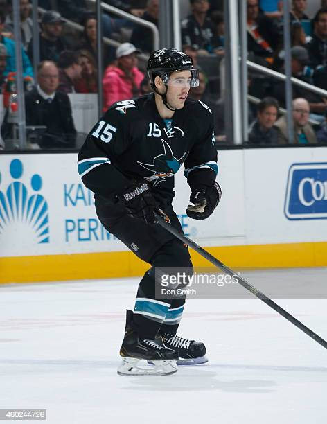 James Sheppard of the San Jose Sharks skates after the puck against the Boston Bruins during an NHL game on December 4, 2014 at SAP Center in San...