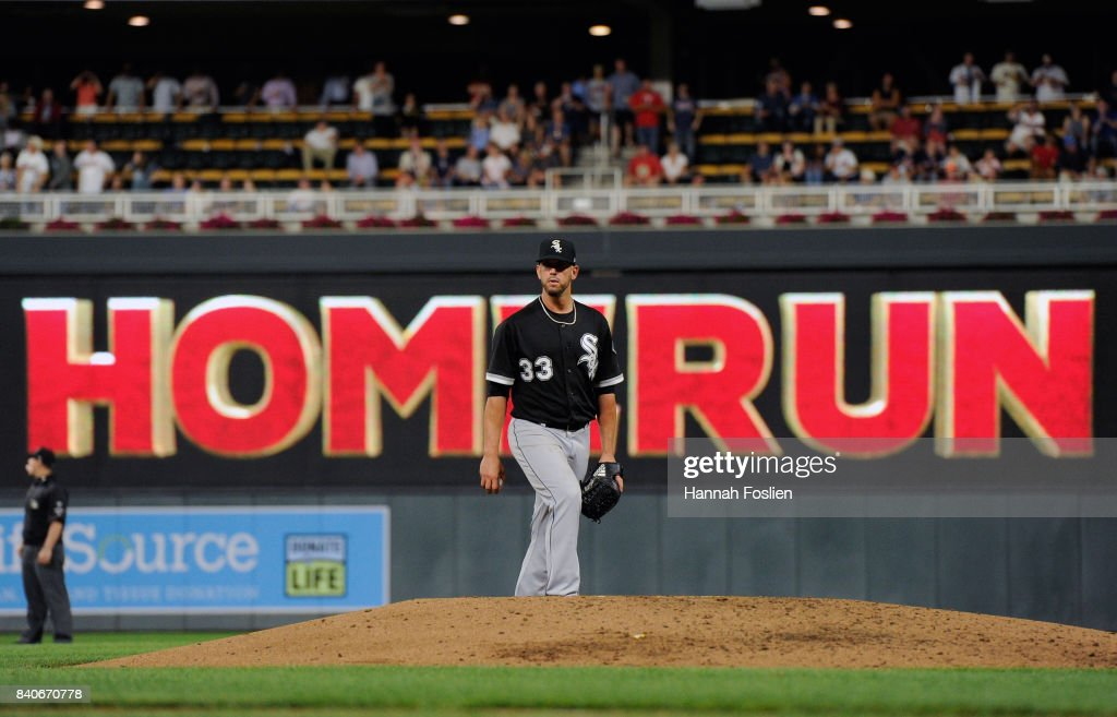 James Shields #33 of the Chicago White Sox reacts to giving up a solo home run to Jorge Polanco #11 of the Minnesota Twins during the third inning of the game on August 29, 2017 at Target Field in Minneapolis, Minnesota.