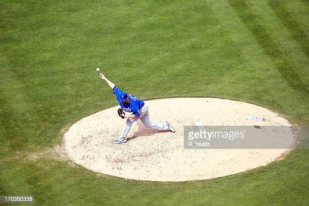 James Shields of the Kansas City Royals pitches against the Texas Rangers at Rangers Ballpark in Arlington on June 1 2013 in Arlington Texas
