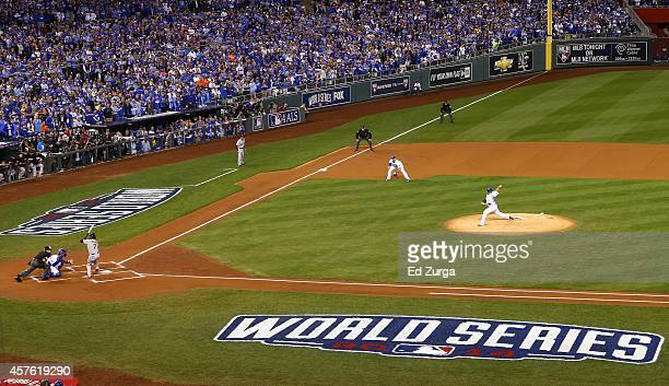 James Shields of the Kansas City Royals pitches to Gregor Blanco of the San Francisco Giants during Game One of the 2014 World Series at Kauffman...