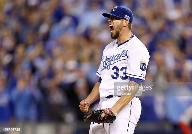 James Shields of the Kansas City Royals reacts after a strikeout to end the top of the sixth inning against the Los Angeles Angels during Game Three...