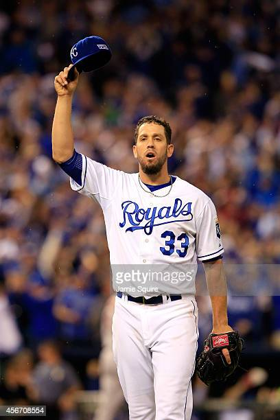 James Shields of the Kansas City Royals reacts as he walks to the dugout in the fifth inning against the Los Angeles Angels during Game Three of the...