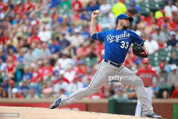 James Shields of the Kansas City Royals throws in the first inning against the Texas Rangers at Rangers Ballpark in Arlington on June 1 2013 in...