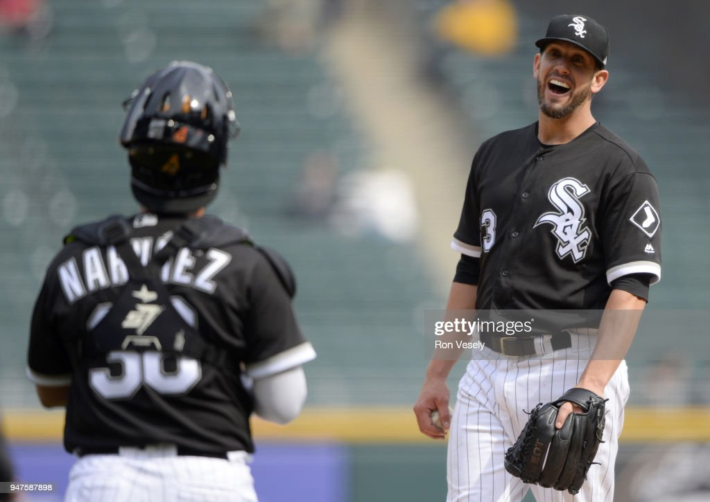 James Shields #33 reacts while talking to Omar Narvaez #38 of the Chicago White Sox during the game against the Tampa Bay Rays on April 11, 2018 at Guaranteed Rate Field in Chicago, Illinois. (Photo by Ron Vesely/MLB Photos via Getty Images) James Shields' Omar Narvaez