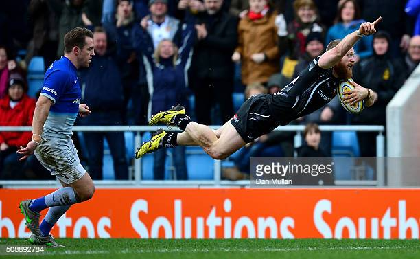 James Short of Exeter Chiefs dives over for his side's first try during the Aviva Premiership match between Exeter Chiefs and Saracens at Sandy Park...