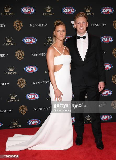 James Sicily of the Hawks and partner arrives ahead of the 2019 Brownlow Medal at Crown Palladium on September 23 2019 in Melbourne Australia