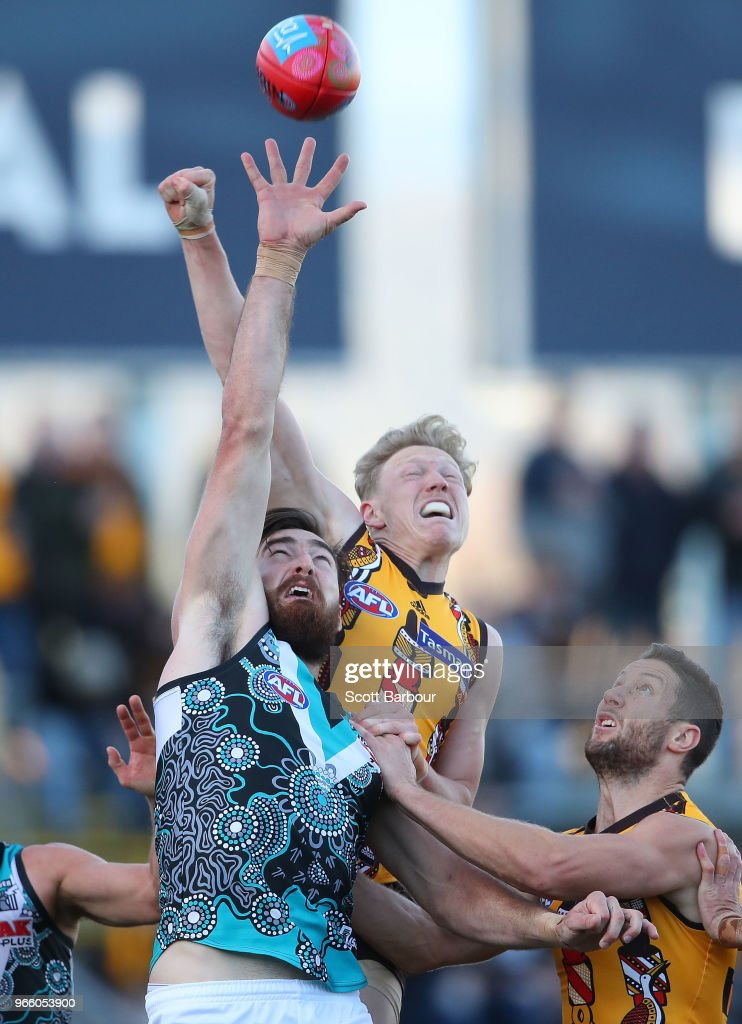 James Sicily of the Hawks competes for the ball during the round 11 AFL match between the Hawthorn Hawks and the Port Adelaide Power at University of Tasmania Stadium on June 2, 2018 in Launceston, Australia.