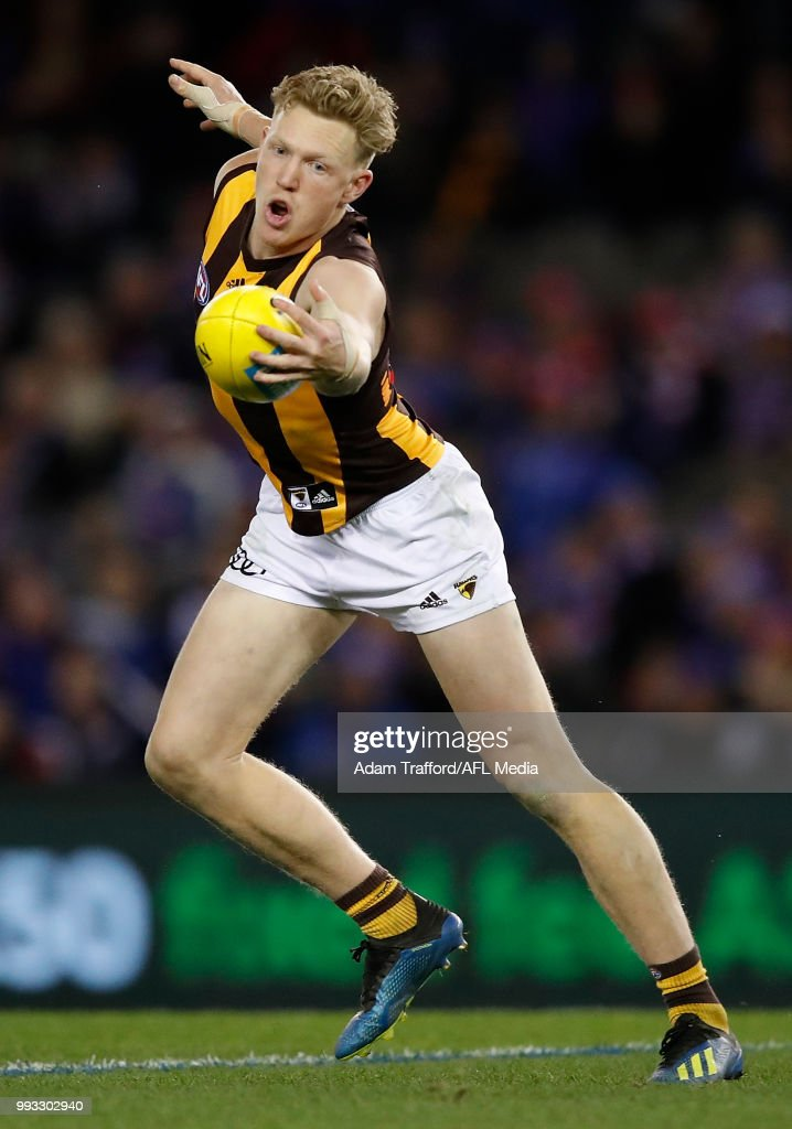 James Sicily of the Hawks in action during the 2018 AFL round 16 match between the Western Bulldogs and the Hawthorn Hawks at Etihad Stadium on July 07, 2018 in Melbourne, Australia.