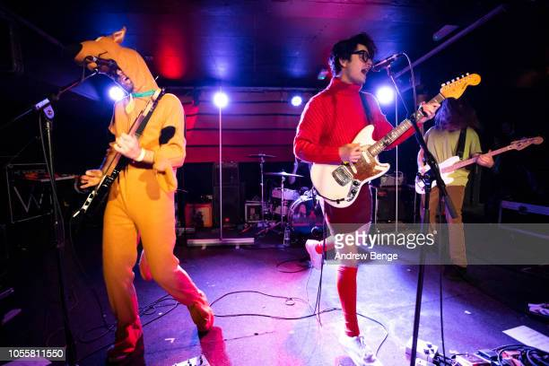 James Simpson Jamie Glass and Ollie Nunn of Indoor Pets perform live at The Wardrobe on October 31 2018 in Leeds England