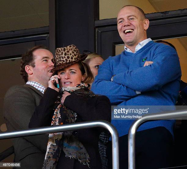 James SimpsonDaniel Dolly Maude Zara Phillips and Mike Tindall watch the racing as they attend Countryside Day of The Open meeting at Cheltenham...