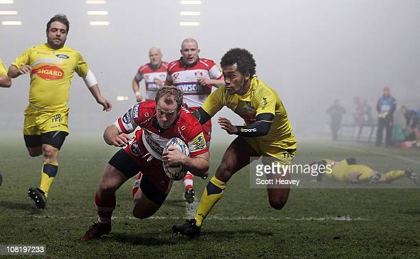 James SimpsonDaniel of Gloucester scores the first try during the Amlin Challenge Cup match at Kingsholm Stadium on January 20 2011 in Gloucester...