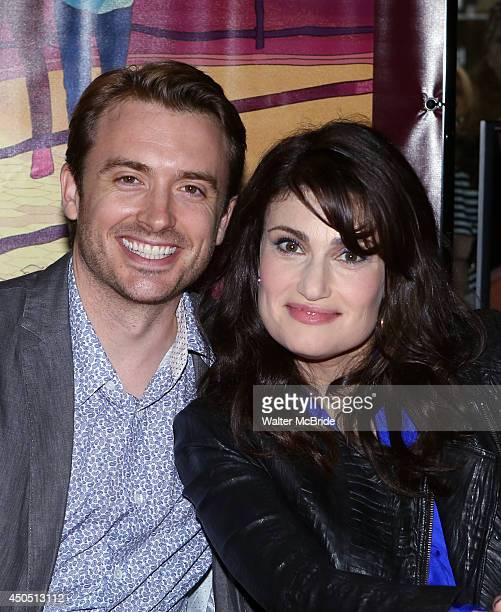 James Snyder and Idina Menzel attend the 'If/Then' Broadway Cast CD Signing at the Sony Store on June 12 2014 in New York City