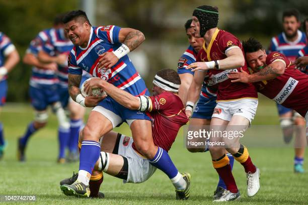 James So'oialo of Horowhenua Kapiti is tackled by Olly Kay of King Country during the round six Heartland Championship match between Horowhenua...