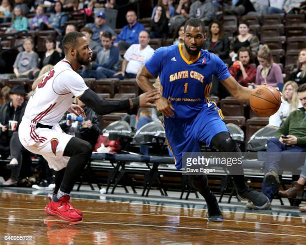 James Southerland from the Santa Cruz Warriors drives against Jabril Trawick from the Sioux Falls Skyforce at the Sanford Pentagon March 1 2017 in...