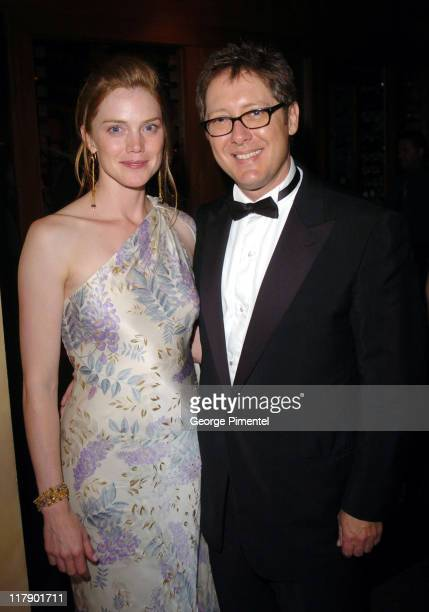 James Spader and fiancee Leslie Stefanson during The 56th Annual Primetime Emmy Awards Fox After Party Inside at Spago in Beverly Hills California...