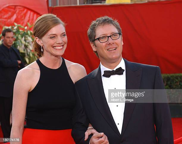 James Spader and fiancTe Leslie Stefanson during The 57th Annual Emmy Awards Arrivals at Shrine Auditorium in Los Angeles California United States