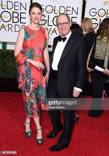 James Spader and Leslie Stefanson arrives at the 72nd Annual Golden Globe Awards at The Beverly Hilton Hotel on January 11 2015 in Beverly Hills...