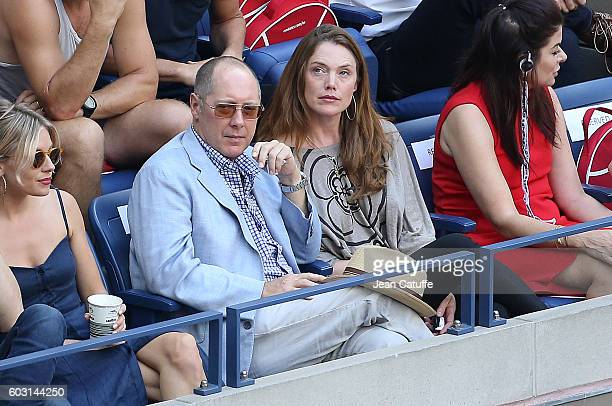 James Spader and Leslie Stefanson attend the men's final between Novak Djokovic of Serbia and Stan Wawrinka of Switzerland at Arthur Ashe Stadium on...