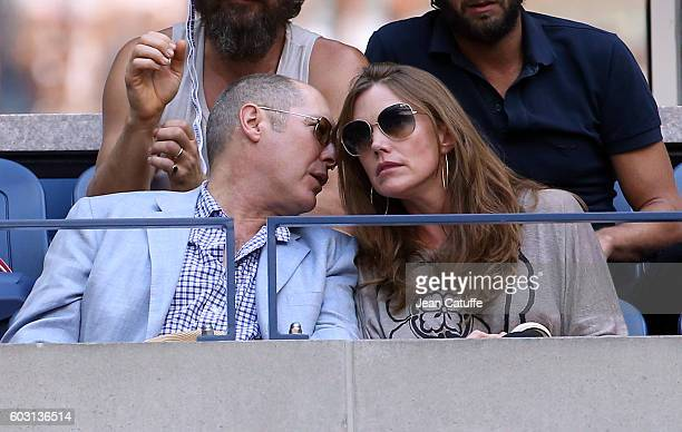 James Spader and Leslie Stefanson attend the men's final between Novack Djokovic of Serbia and Stan Wawrinka of Switzerland at Arthur Ashe Stadium on...