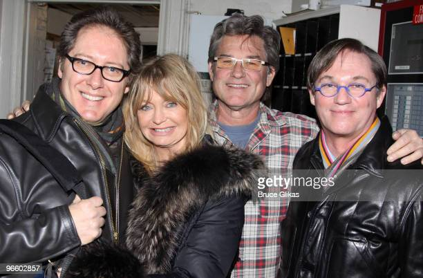 James Spader Goldie Hawn Kurt Russell and Richard Thomas pose backstage at the hit play 'Race' on Broadway at The Barrymore Theater on February 11...