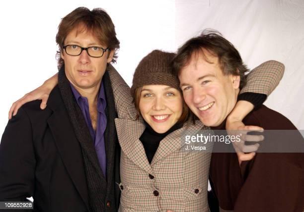 James Spader Maggie Gyllenhaal and director Steven Shainberg pose at 2002 Sundance Film Festival for their new film 'Secretary'