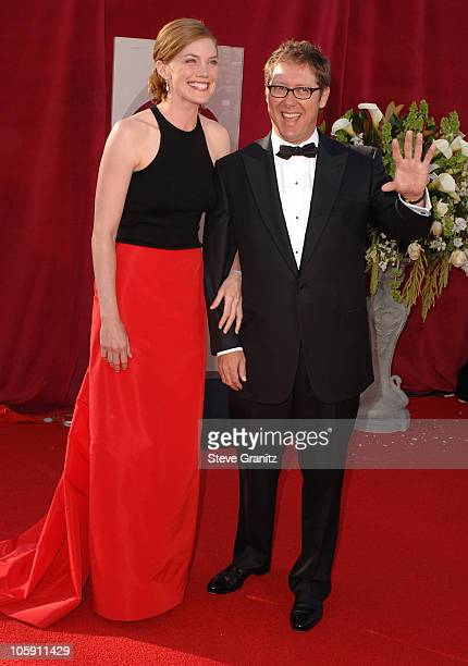 James Spader right and fiancee Leslie Stefanson during The 57th Annual Emmy Awards Arrivals at Shrine Auditorium in Los Angeles California United...