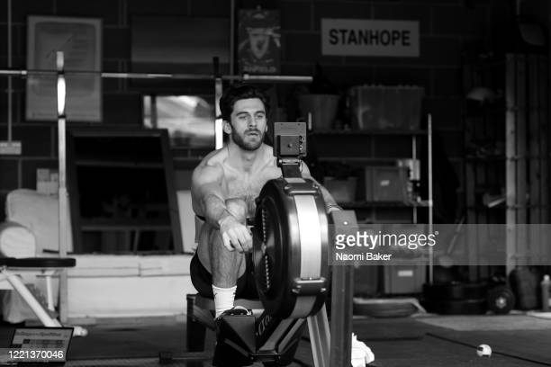 James Stanhope of Leander Rowing Club trains in his garage on April 01 2020 in Caversham England The coronavirus and the disease it causes COVID19...