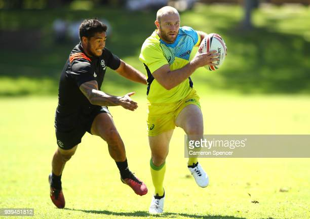 James Stannard of Australia runs the ball during the Australian Rugby Sevens practice match against New Zealand at Newington College on March 29 2018...