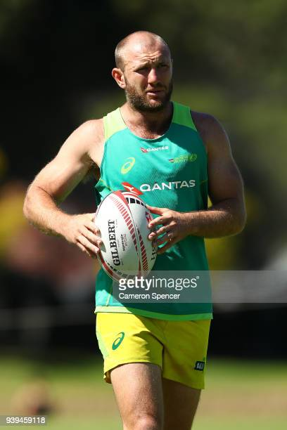 James Stannard of Australia warms up prior to the Australian Rugby Sevens practice match against New Zealand at Newington College on March 29 2018 in...