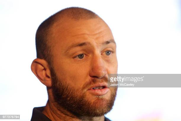 James Stannard speaks to the media during a press conference at Rugby Australia HQ on June 18 2018 in Sydney Australia