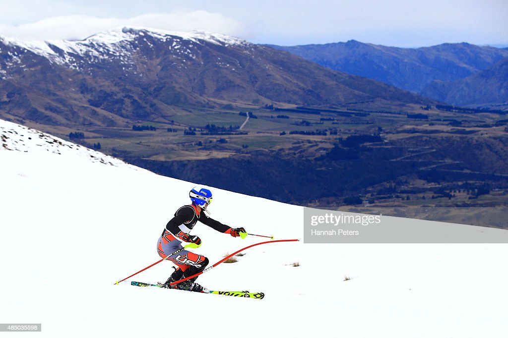 James Stanton of the United States competes in the Men Slalom Standing LW4 in the IPC Alpine Adaptive Slalom Southern Hemisphere Cup during the Winter Games NZ at Coronet Peak on August 24, 2015 in Queenstown, New Zealand.