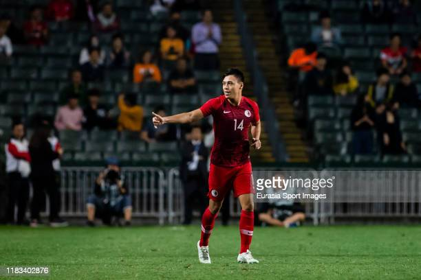 James Stephen Gee Ha of Hong Kong celebrates after scoring his goal during the FIFA World Cup Asian Qualifier second round match between Hong Kong...