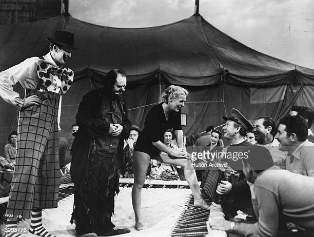 James Stewart and Emmett Kelly formerly a reallife clown star with Betty Hutton in the film 'The Greatest Show On Earth' directed by Cecil B DeMille