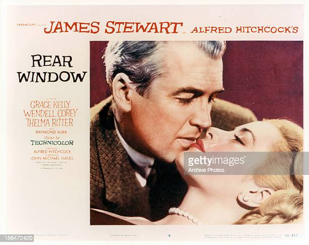 James Stewart and Grace Kelly in movie are for the film 'Rear Window' 1954