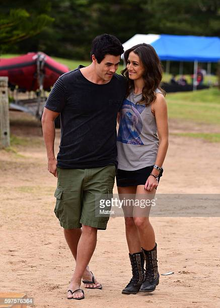 James Stewart and Isabelle Giovinazzo on the set of 'Home and Away' on August 29 2016 in Sydney Australia