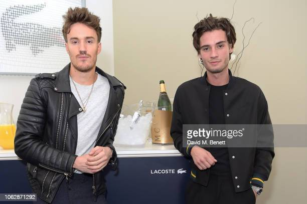 James Stewart and Jack Brett Anderson pose in the Lacoste VIP Lounge during SemiFinal Day of the 2018 Nitto ATP World Tour Tennis Finals at The O2...