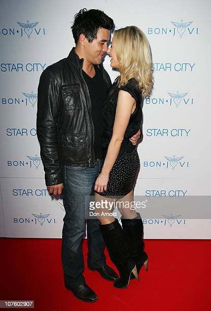 James Stewart and Jessica Marais arrive for an exclusive Bon Jovi concert at Star City on December 15 2010 in Sydney Australia