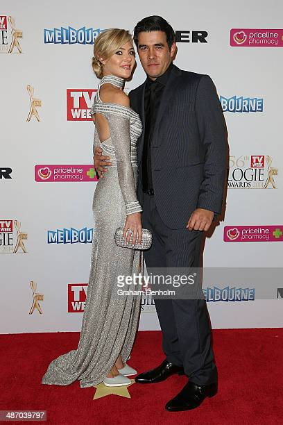 James Stewart and Jessica Marais arrives at the 2014 Logie Awards at Crown Palladium on April 27 2014 in Melbourne Australia