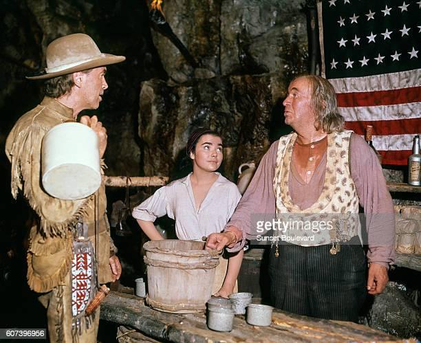 James Stewart Brigid Bazlen and Walter Brennan on the set of How the West Was Won