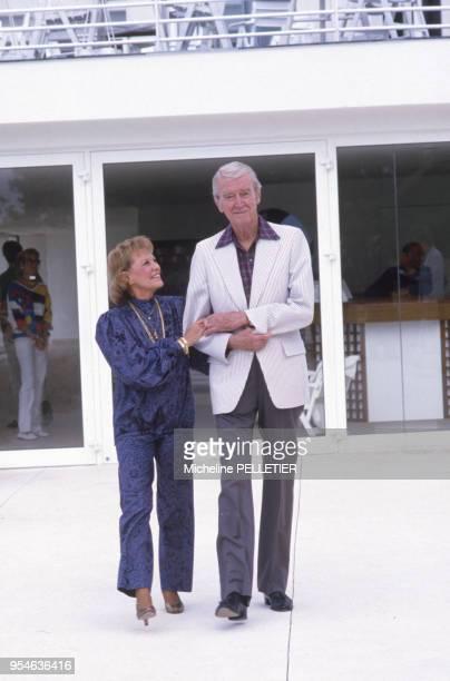 James Stewart et sa femme Gloria lors du 38ème Festival de Cannes en mai 1984 France