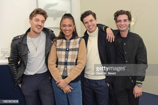 James Stewart Joy Crookes Laurence Knowlson and Jack Brett Anderson pose in the Lacoste VIP Lounge during SemiFinal Day of the 2018 Nitto ATP World...