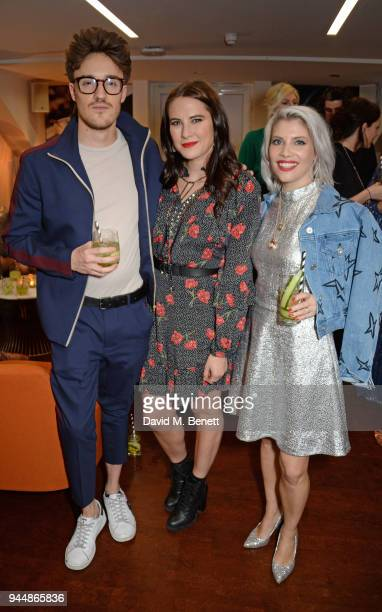 James Stewart Kat Shoob and Pips Taylor attend the Pimm's No6 Vodka Cup official launch party at 12 Golden Square on April 11 2018 in London England...