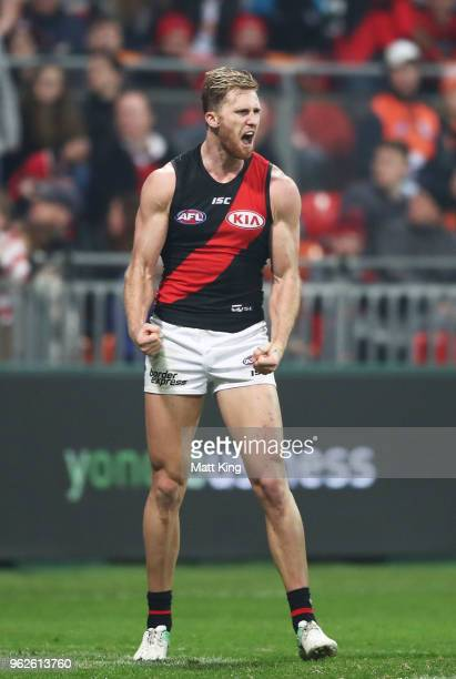 James Stewart of the Bombers celebrates a goal during the round 10 AFL match between the Greater Western Sydney Giants and the Essendon Bombers at...