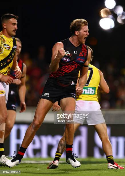 James Stewart of the Bombers celebrates after scoring a goal during the round 13 AFL match between the Essendon Bombers and the Richmond Tigers at...